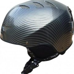 Adults Black Carbon Fibre Ski Helmet Black