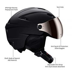 Kuyou Ski Helmets Snow Helmet with Detachable Ski Goggles